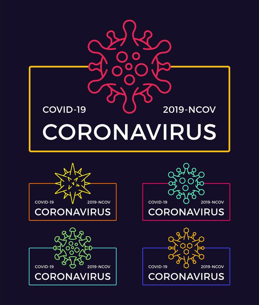 conjunto de emblemas de pandemia de coronavírus. saúde e ilustração vetorial médica. propagação do surto do vírus covid-19. Pare o conceito de design de t-shirt do coronavirus. vetor