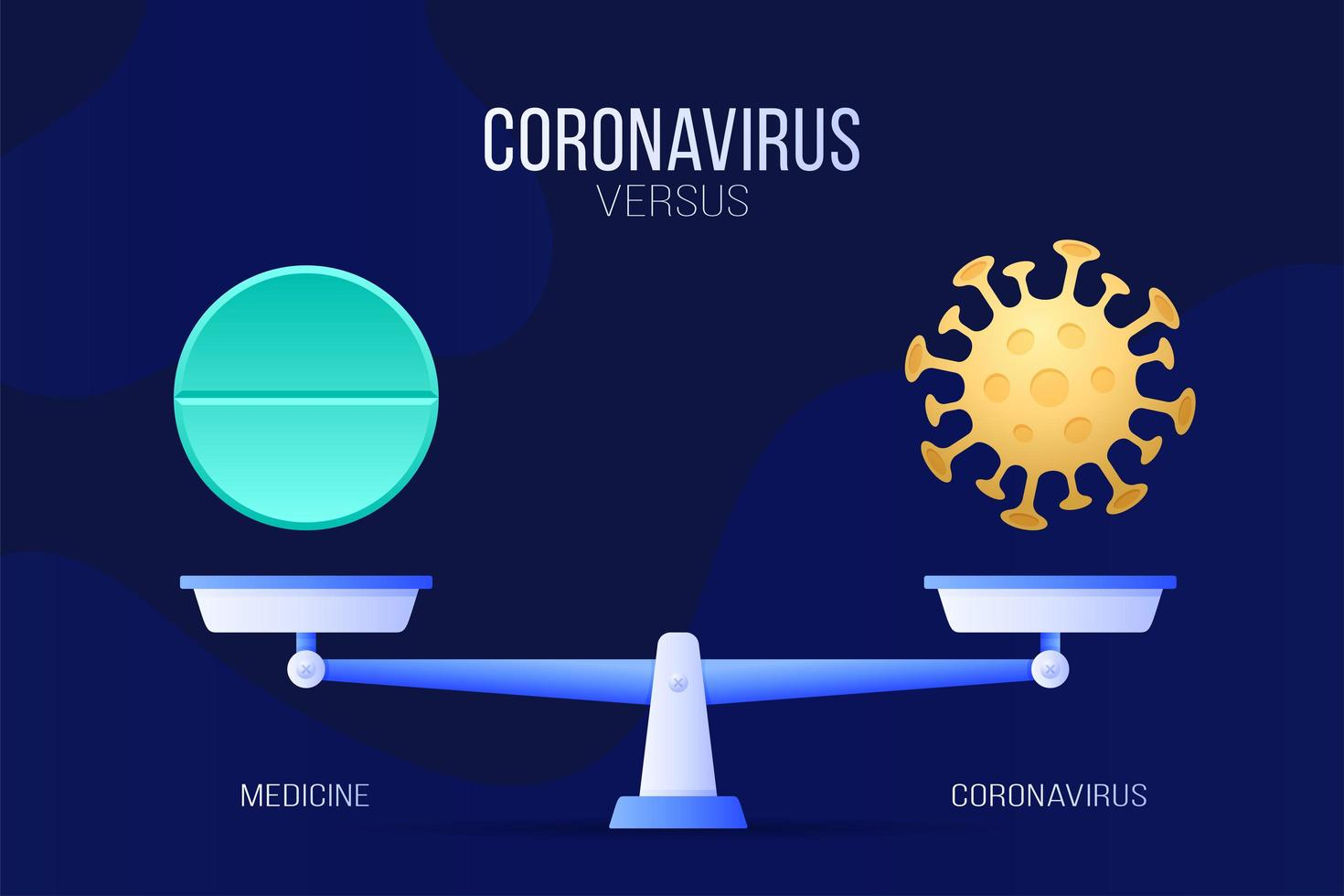 coronavírus ou ilustração vetorial de pílula médica. conceito criativo de escalas e versus, de um lado da escala está o vírus covid-19 e do outro o ícone de pílula. ilustração vetorial plana. vetor