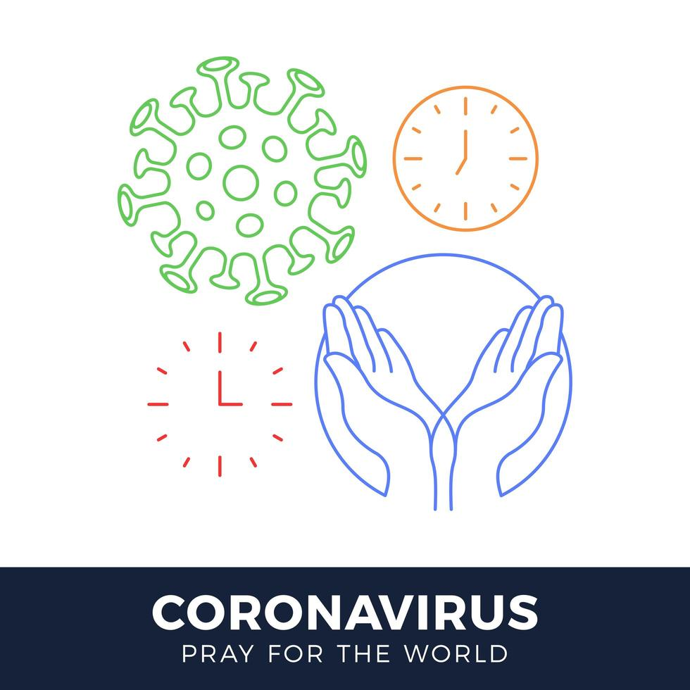 orar pelo conceito de coronavírus mundial com ilustração vetorial de mãos. vetor
