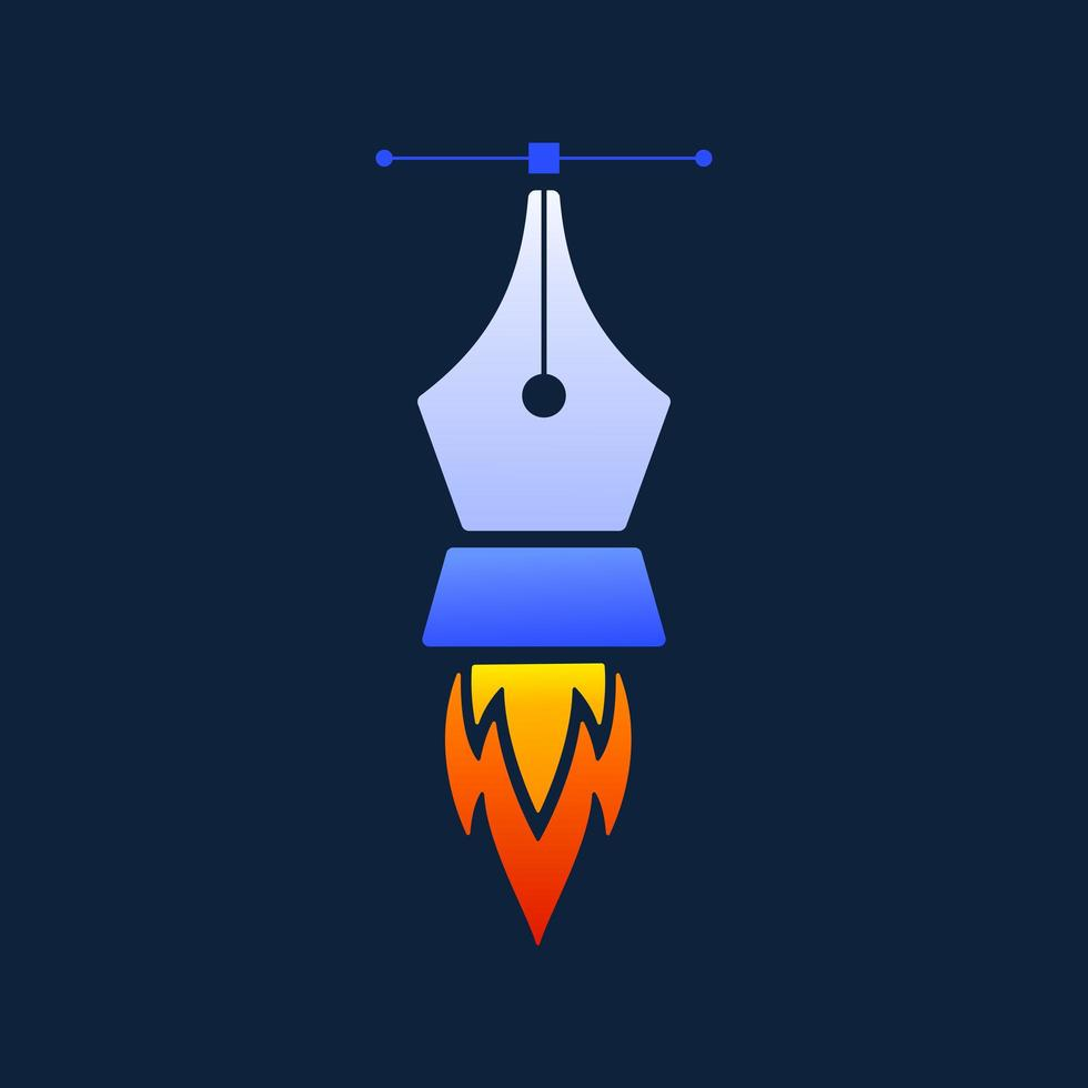 modelo de design de logotipo de vetor de ferramenta de caneta foguete criativa, com ícone de caneta de foguete e ferramenta vetorial em fundo escuro