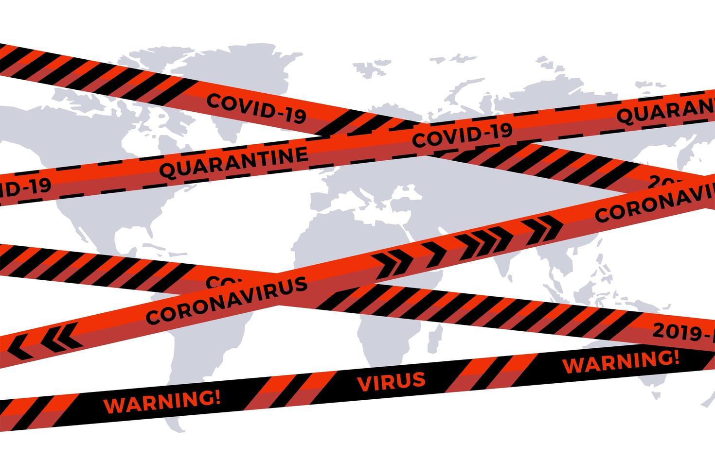 fita do perigo do risco biológico do vetor no fundo do mapa do mundo do corte do papel branco. fita de esgrima de segurança. gripe de quarentena mundial. aviso perigo de gripe. coronavírus pandêmico global covid-19