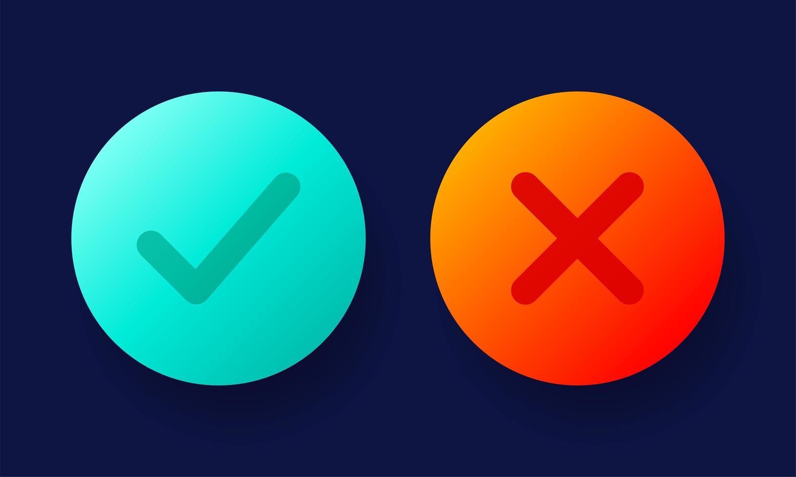 sinais de escala e cruz. marca de seleção verde ok e ícones x vermelhos, isolados no fundo branco. design gráfico de marcas simples. símbolos de círculo sim e não botão para voto, decisão, web. ilustração vetorial vetor