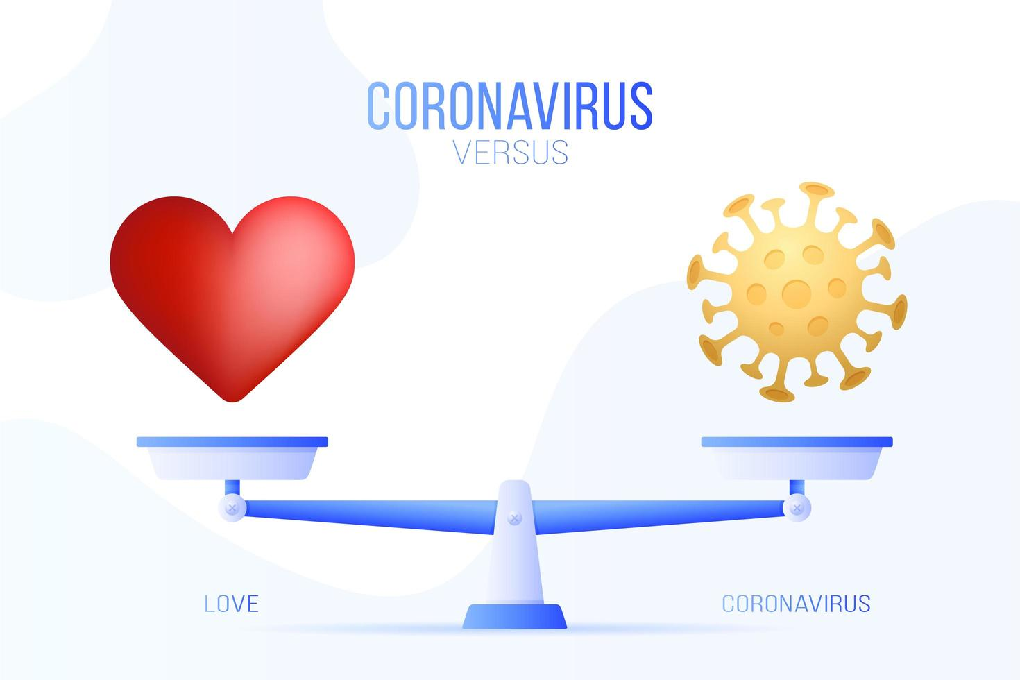 coronavírus ou ilustração vetorial de amor. conceito criativo de escalas e versus, de um lado da escala está o vírus covid-19 e, do outro, o ícone de coração de amor. ilustração vetorial plana. vetor