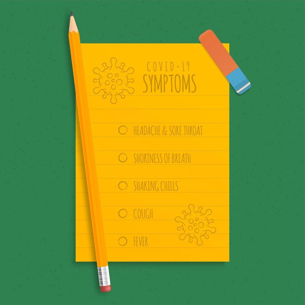 sintomas do coronavírus escritos a lápis em uma folha de papel laranja. secretaria da escola e quarentena por causa do vírus. vetor
