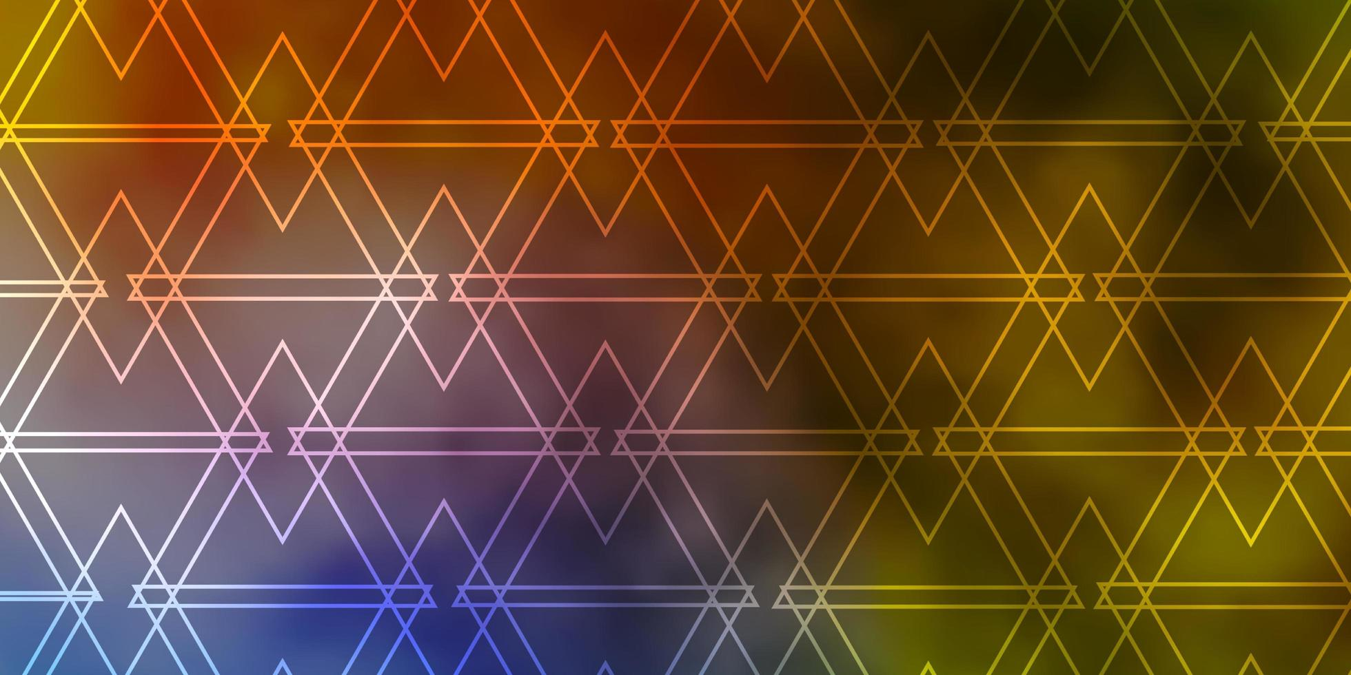 layout de vetor azul e amarelo claro com linhas, triângulos.