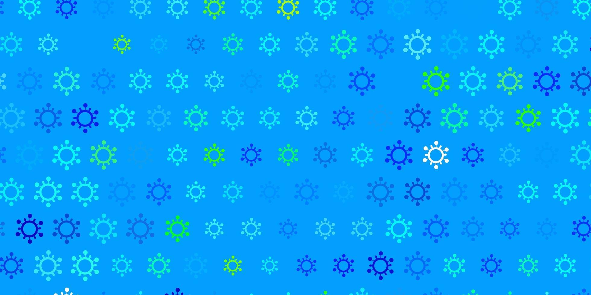 padrão de vetor azul escuro e verde com elementos de coronavírus.