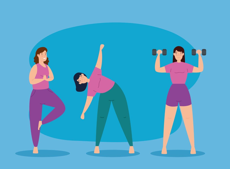 mulheres jovens se exercitando juntas vetor