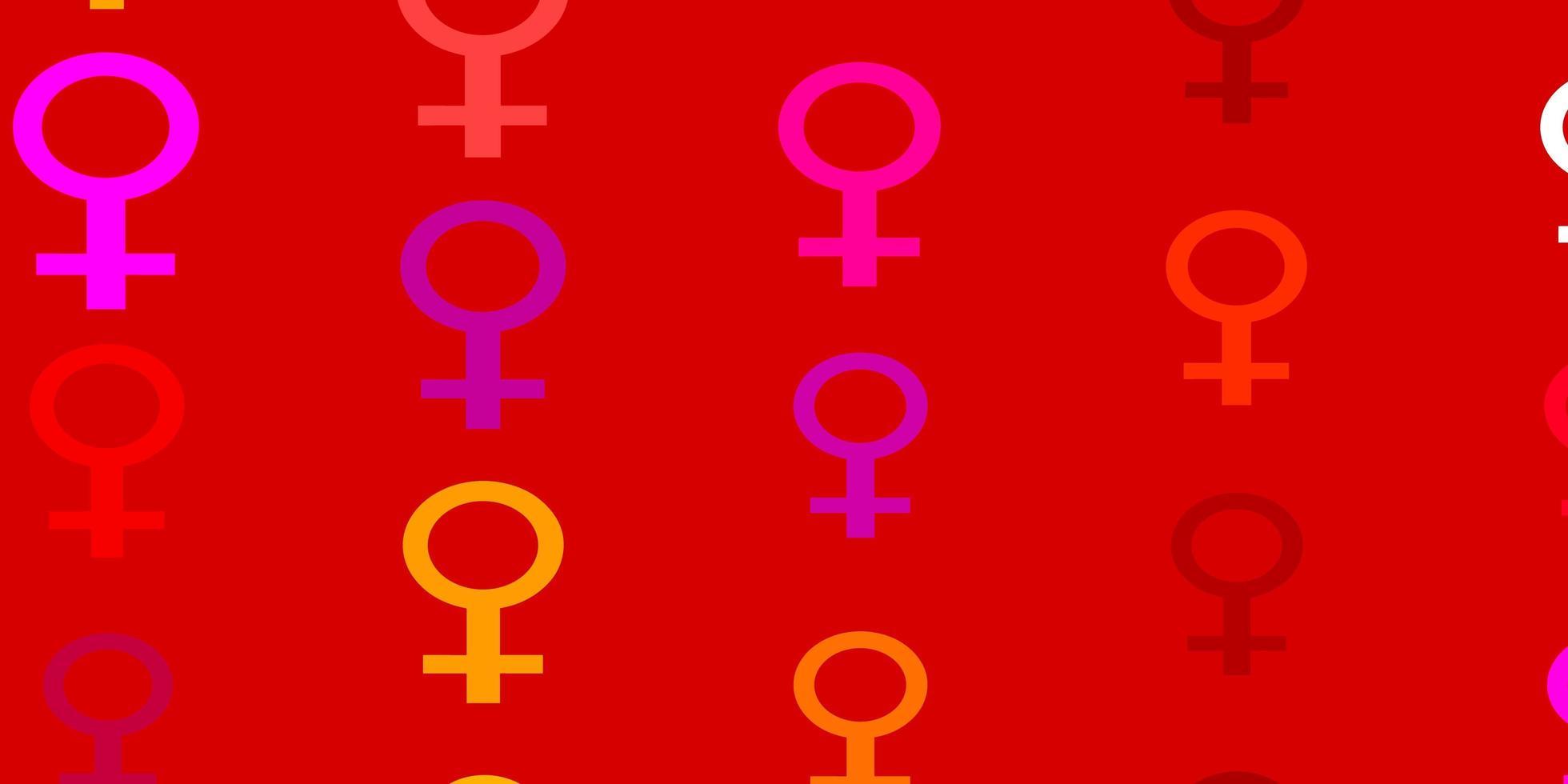 padrão de vetor rosa claro, amarelo com elementos do feminismo.