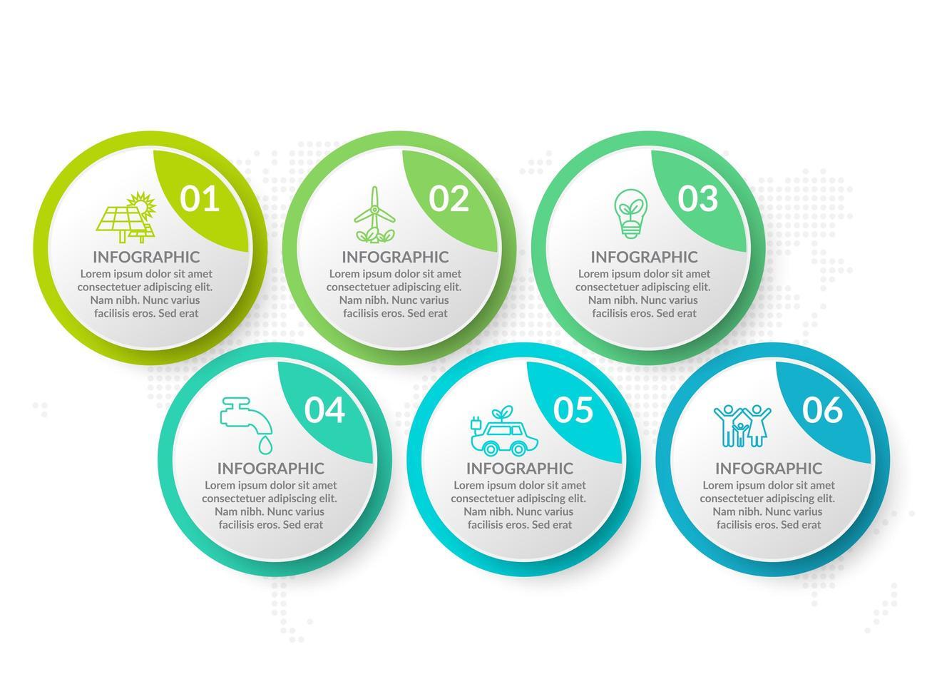 modelo de design de infográfico com 6 opções de cores. vetor