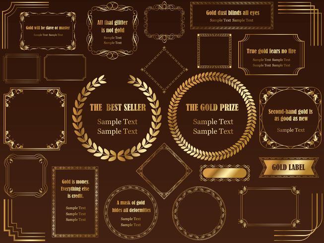 Um conjunto de quadros dourados variados. vetor