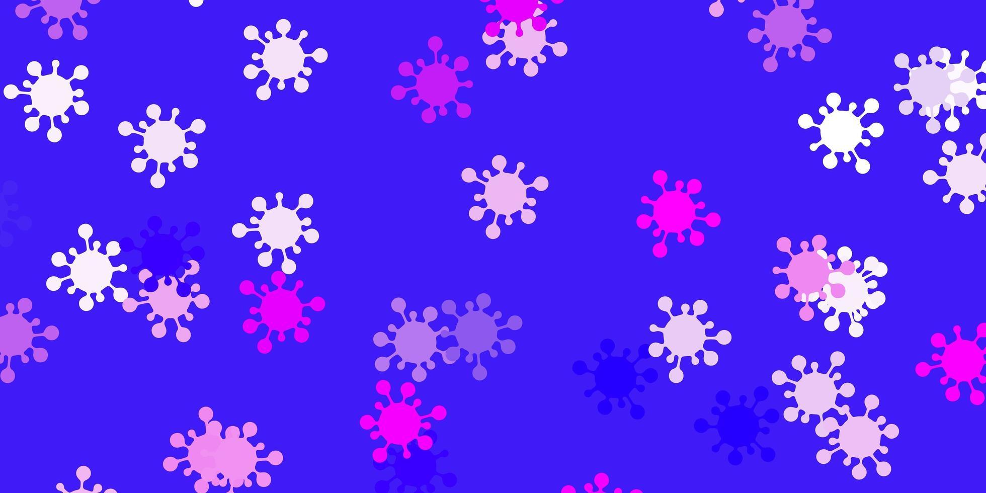 padrão de vetor rosa claro roxo com elementos de coronavírus.