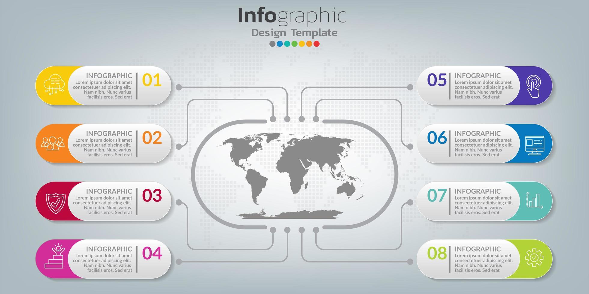 infográfico no conceito de negócio com 8 opções, etapas ou processos. vetor