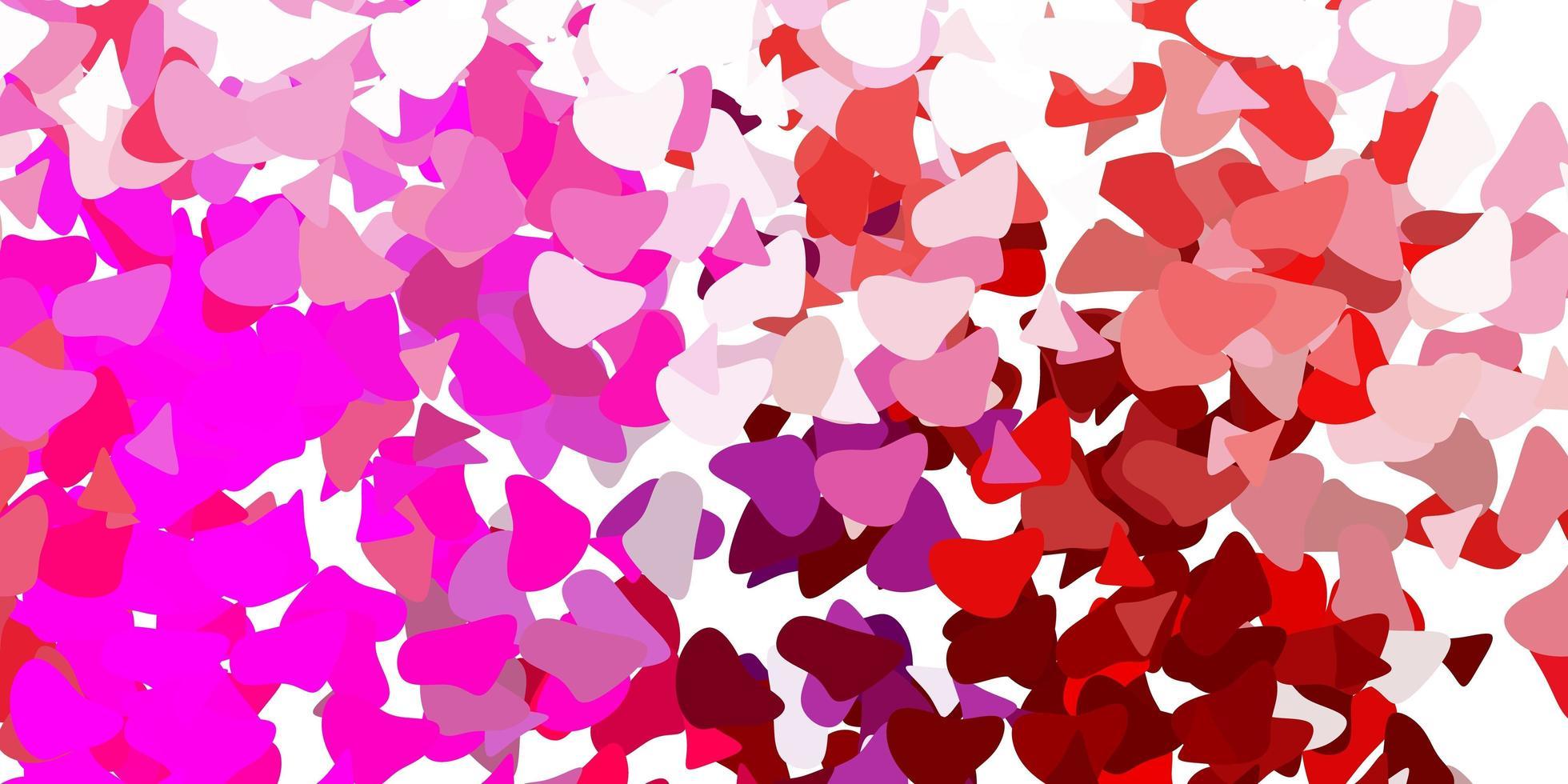 pano de fundo vector rosa claro roxo com formas caóticas.