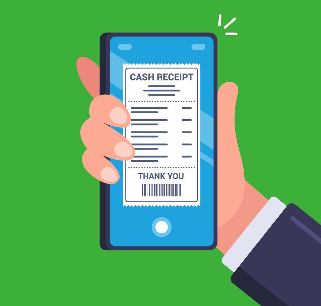 pessoa recebendo um cheque eletrônico em seu smartphone vetor