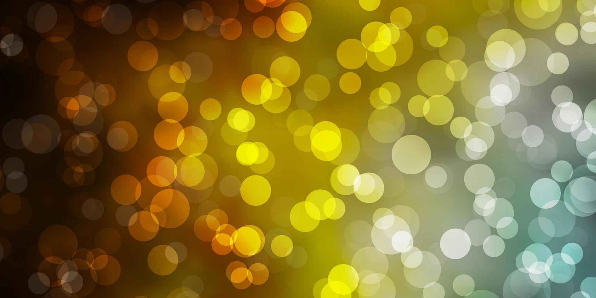 padrão de vetor azul claro, amarelo com círculos.