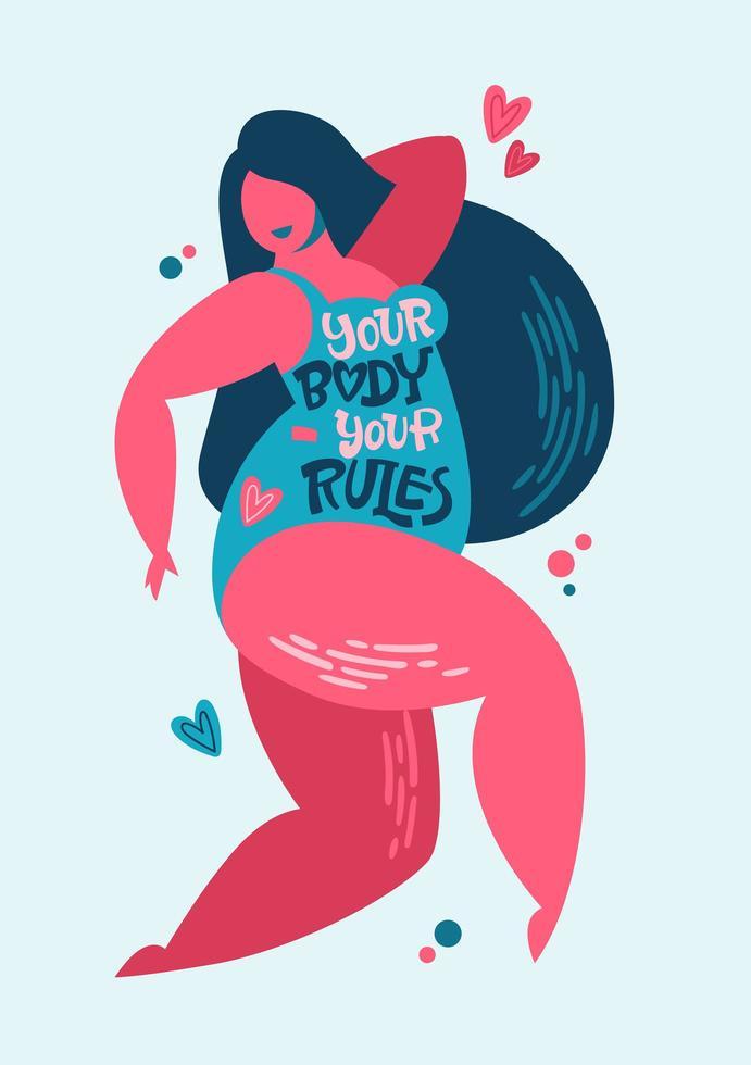 seu corpo - suas regras - design de letras positivas do corpo. mão desenhada inspiração frase em um personagem de mulheres plus size. vetor