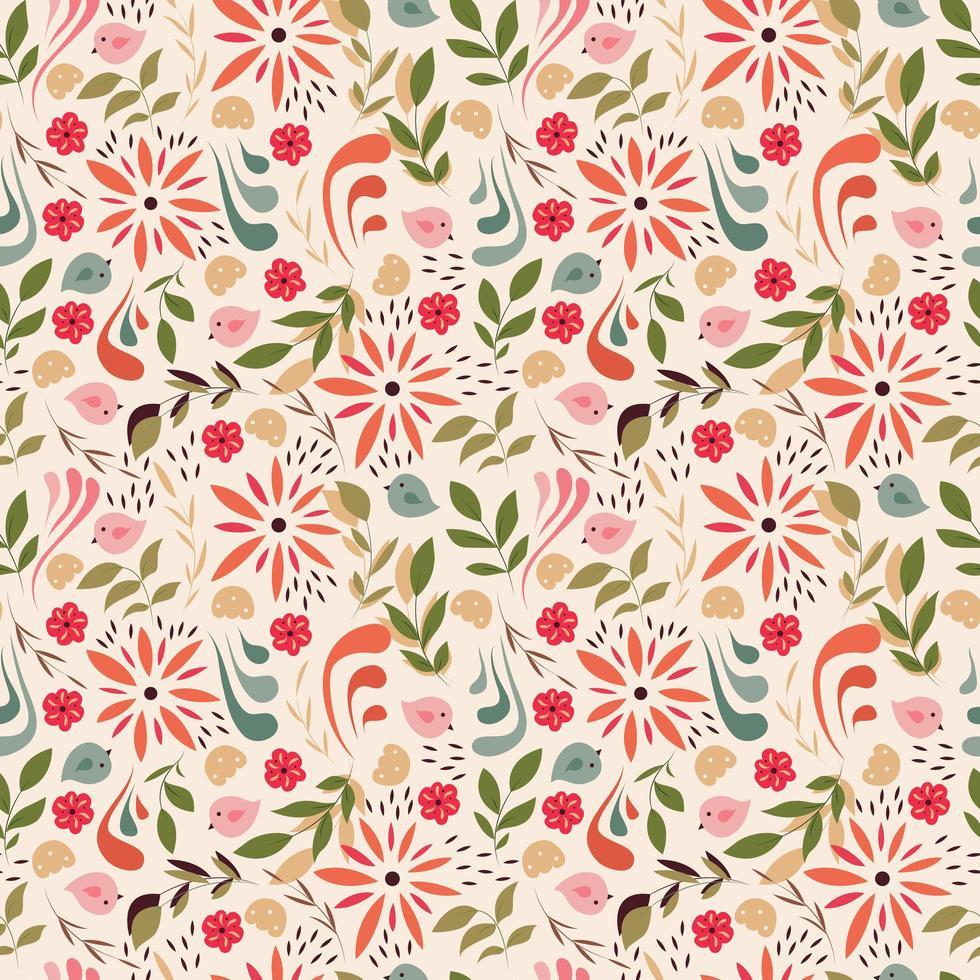 design de padrão sem emenda com pequenas flores, elementos florais, pássaros vetor