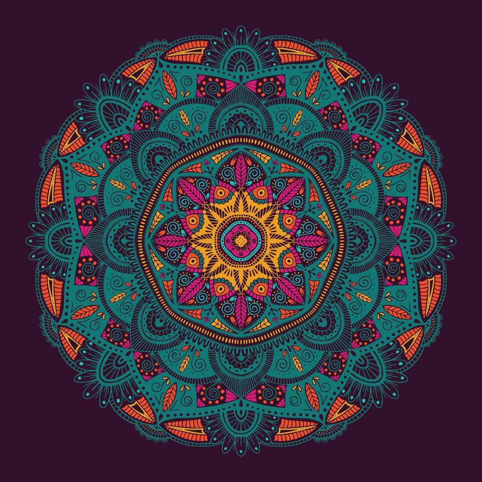 Mandala étnica floral ornamental colorida vetor
