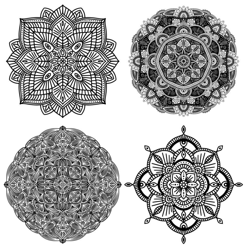coleção de quatro mandalas étnicas florais em preto e branco, sobre fundo branco vetor