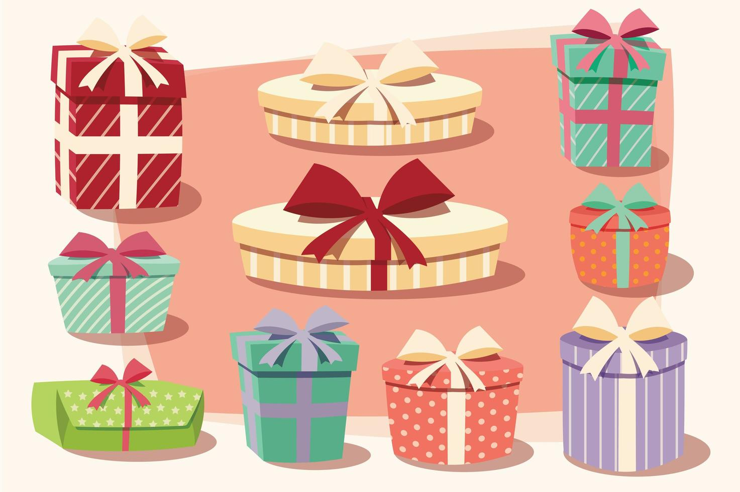 coleção de caixas de presente coloridas com laços e fitas vetor