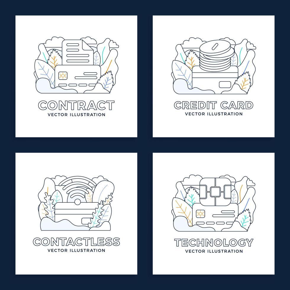 conjunto de design sem contato de cartão de crédito vetor