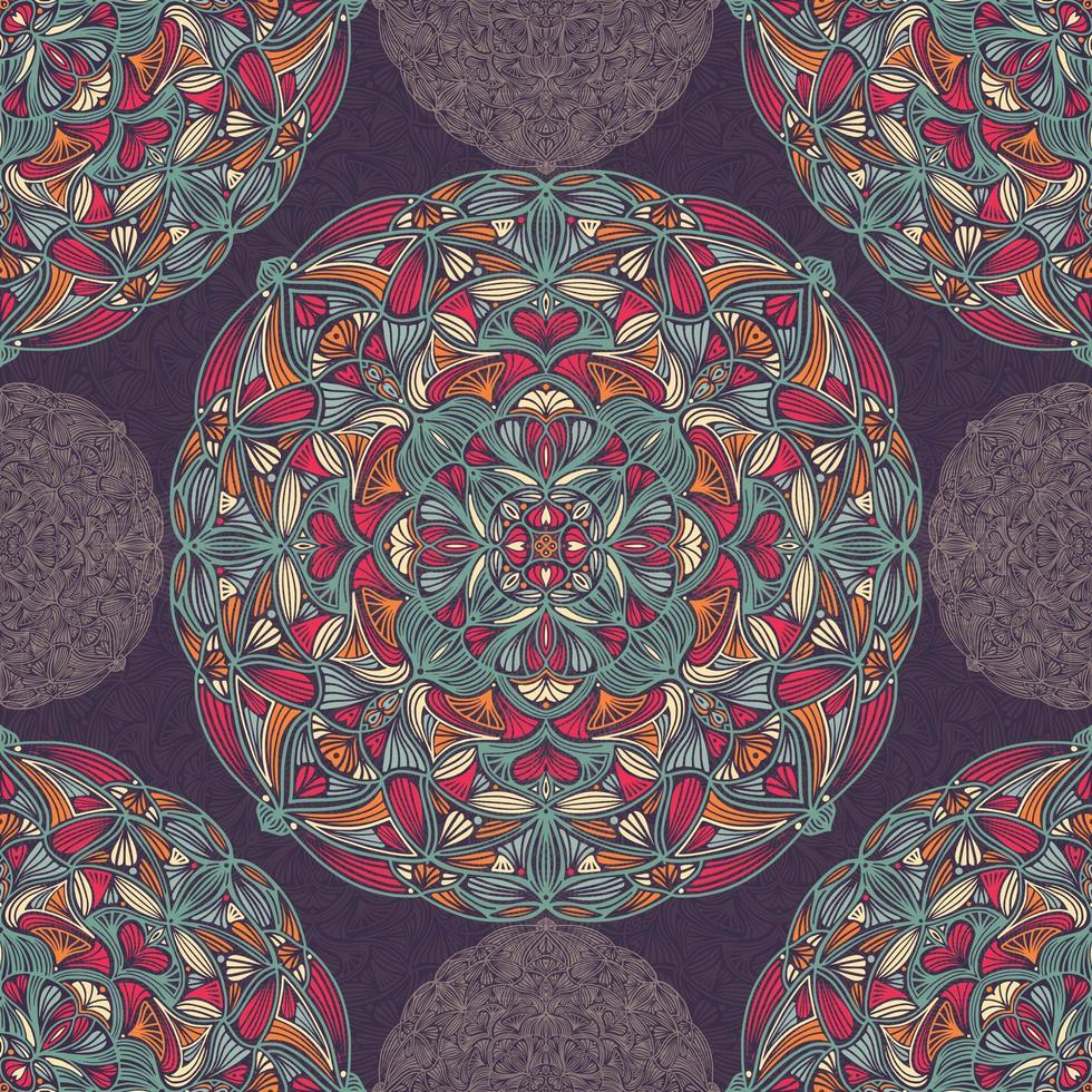 padrão sem emenda com mandalas étnicas florais ornamentais vetor