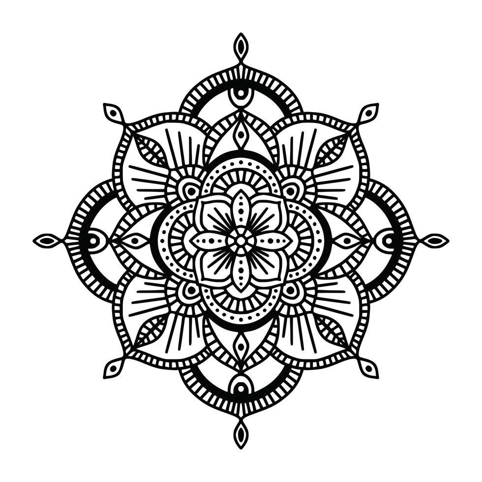 mandala étnica floral preto e branco, sobre fundo branco vetor