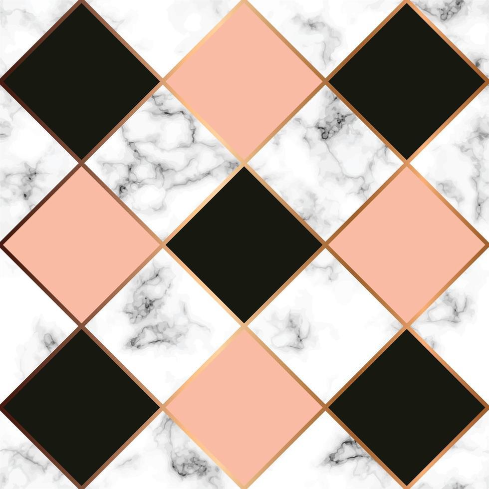 textura de mármore vetorial, design de padrão uniforme com linhas geométricas douradas, superfície de mármore preto e branco, fundo moderno e luxuoso vetor