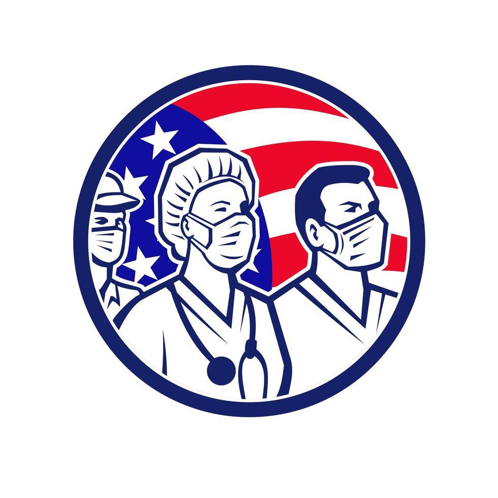 heróis americanos trabalhadores da saúde emblema da bandeira dos EUA vetor