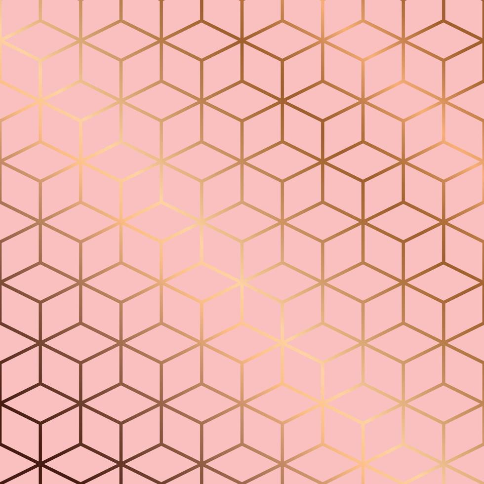 design de padrão sem emenda com linhas geométricas douradas e cubos em fundo rosa, fundo moderno e luxuoso vetor