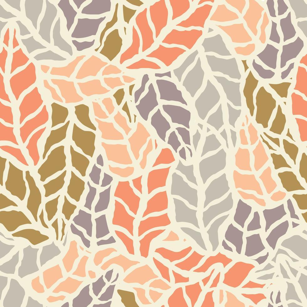 padrão sem emenda com folhas naturais desenhadas à mão vetor