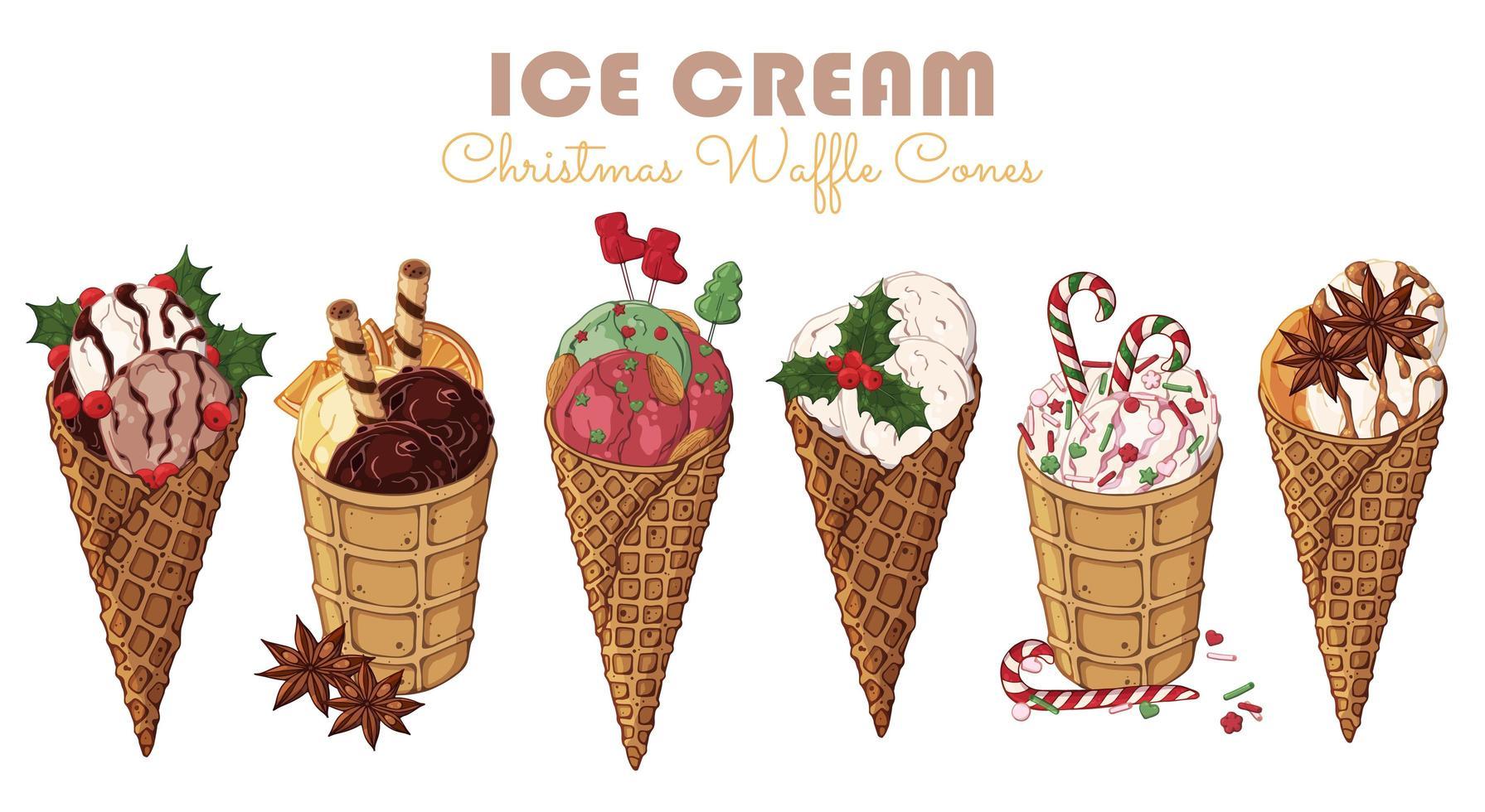Conjunto de temas de doces de natal de diferentes tipos de sorvete em cones de waffle vetor
