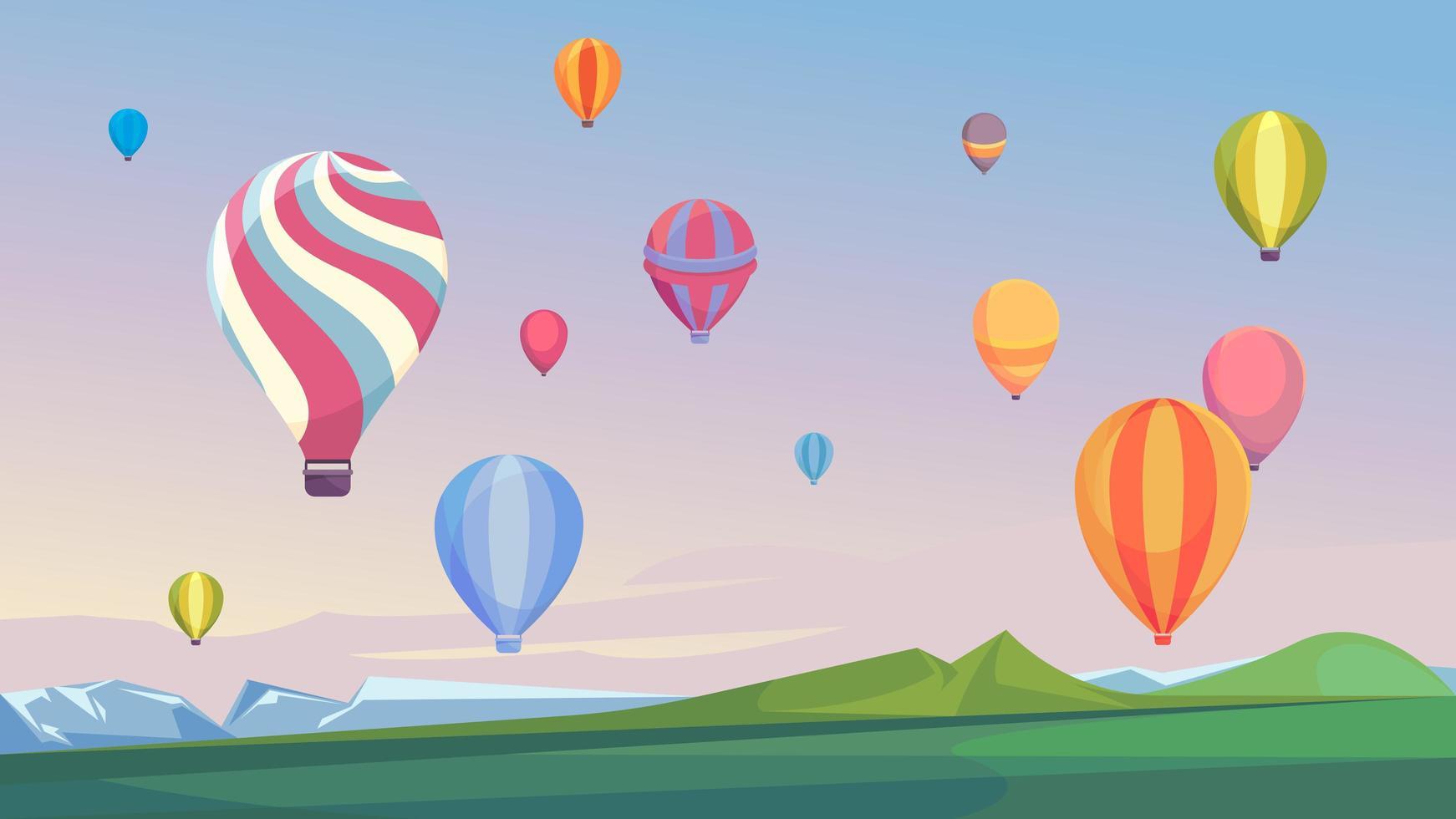 balões de ar quente voando no céu. vetor