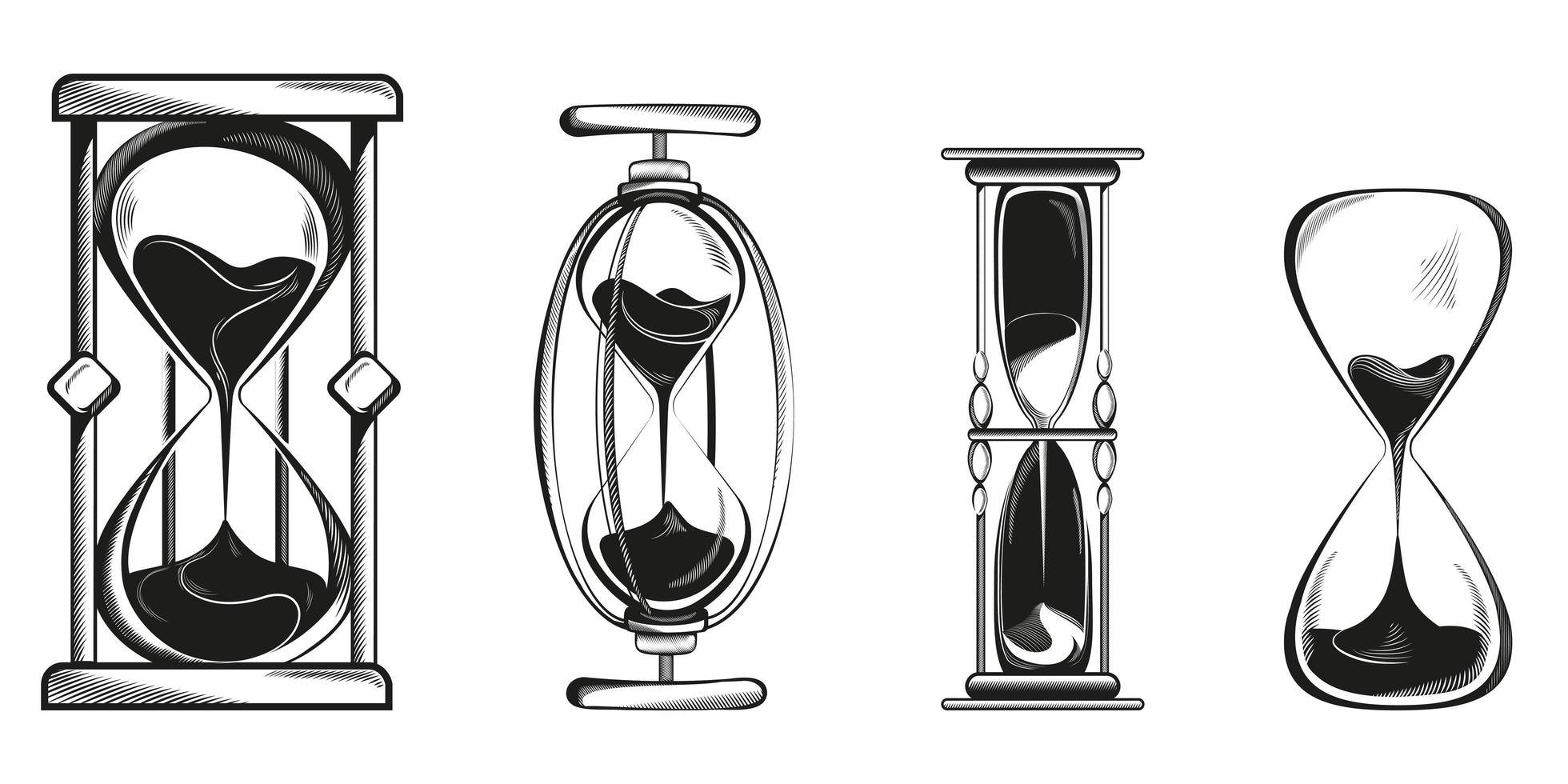 conjunto de diferentes ampulhetas. vetor