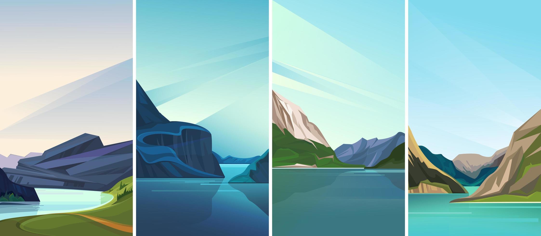 coleção de paisagens de fiorde. vetor
