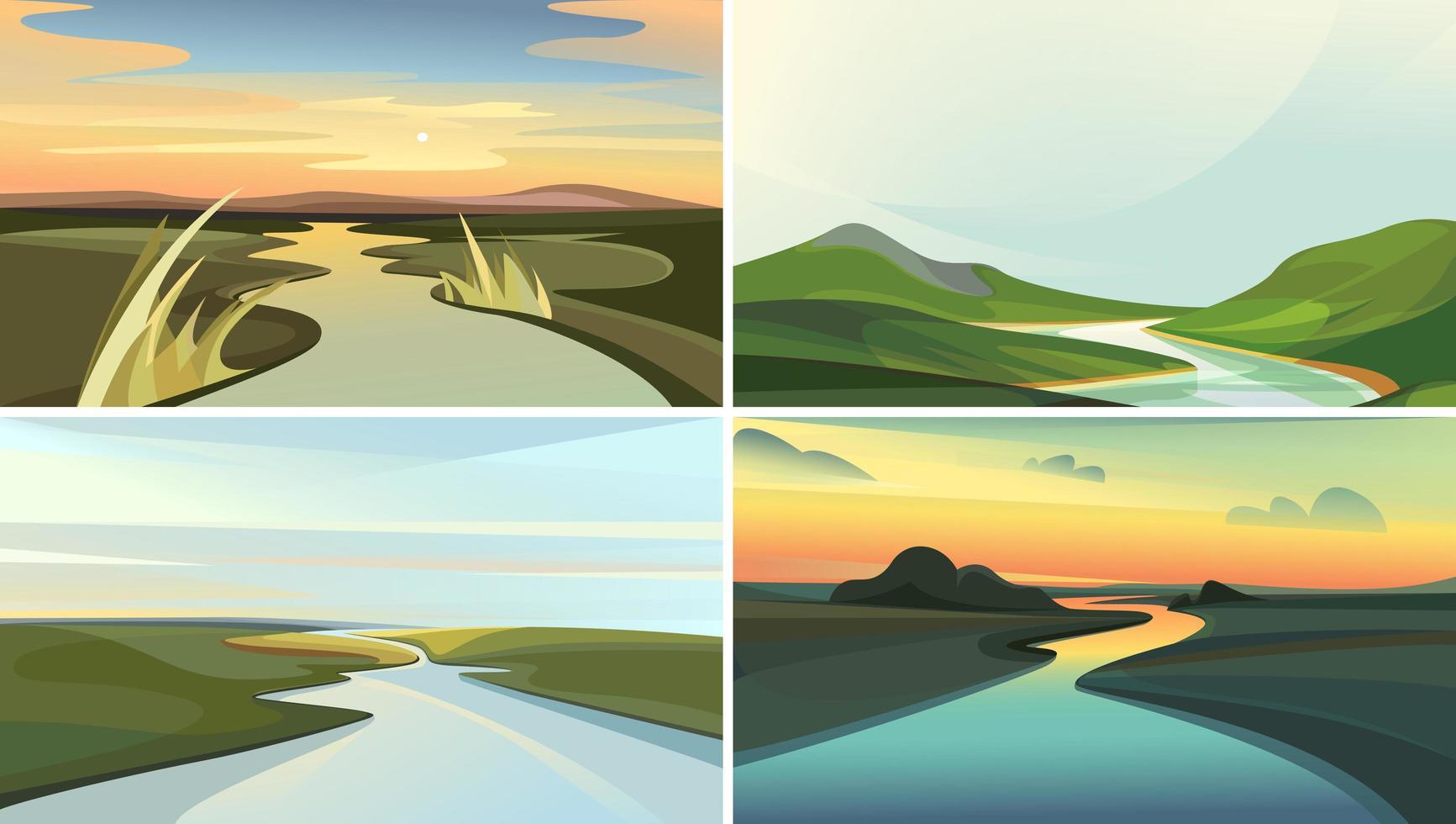 coleção de paisagens do rio. vetor