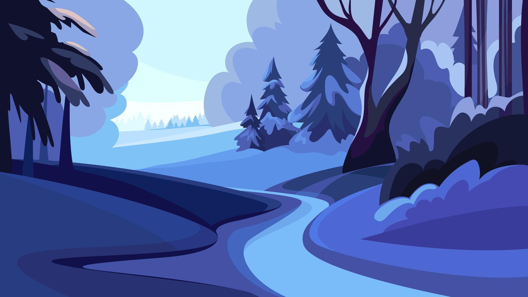 estrada na floresta de inverno ao pôr do sol. vetor