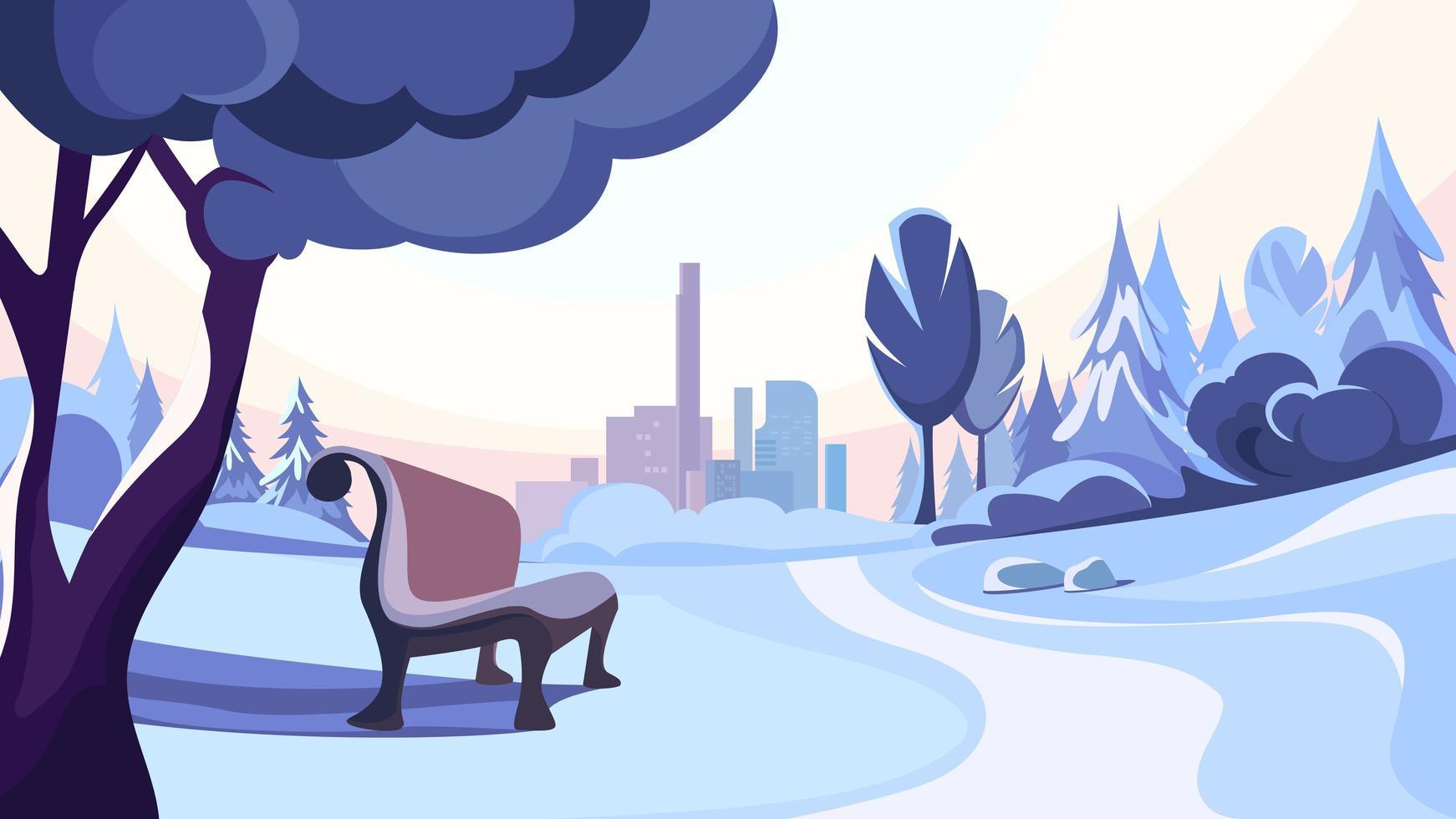 Winter Park no fundo da cidade. vetor