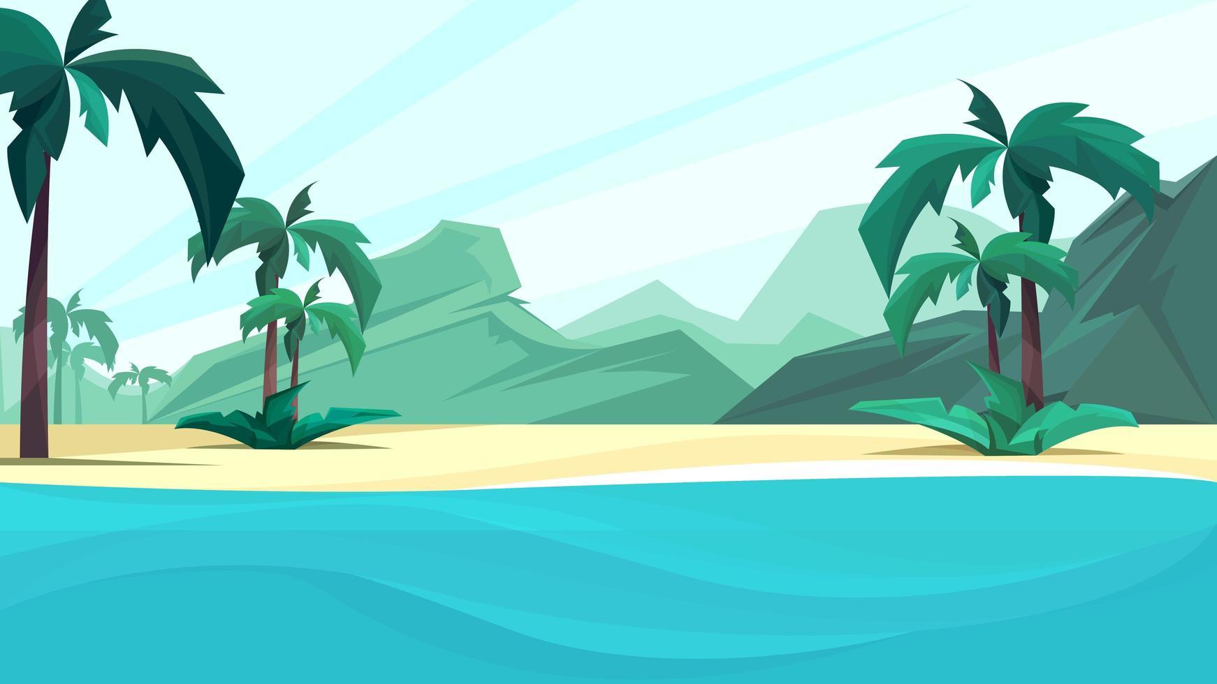 costa do oceano com palmeiras e montanha. vetor