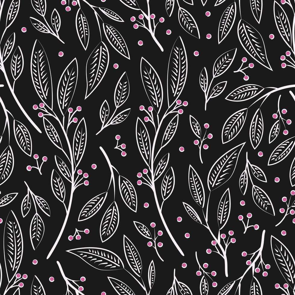 design de padrão sem emenda com flores desenhadas à mão e elementos florais vetor
