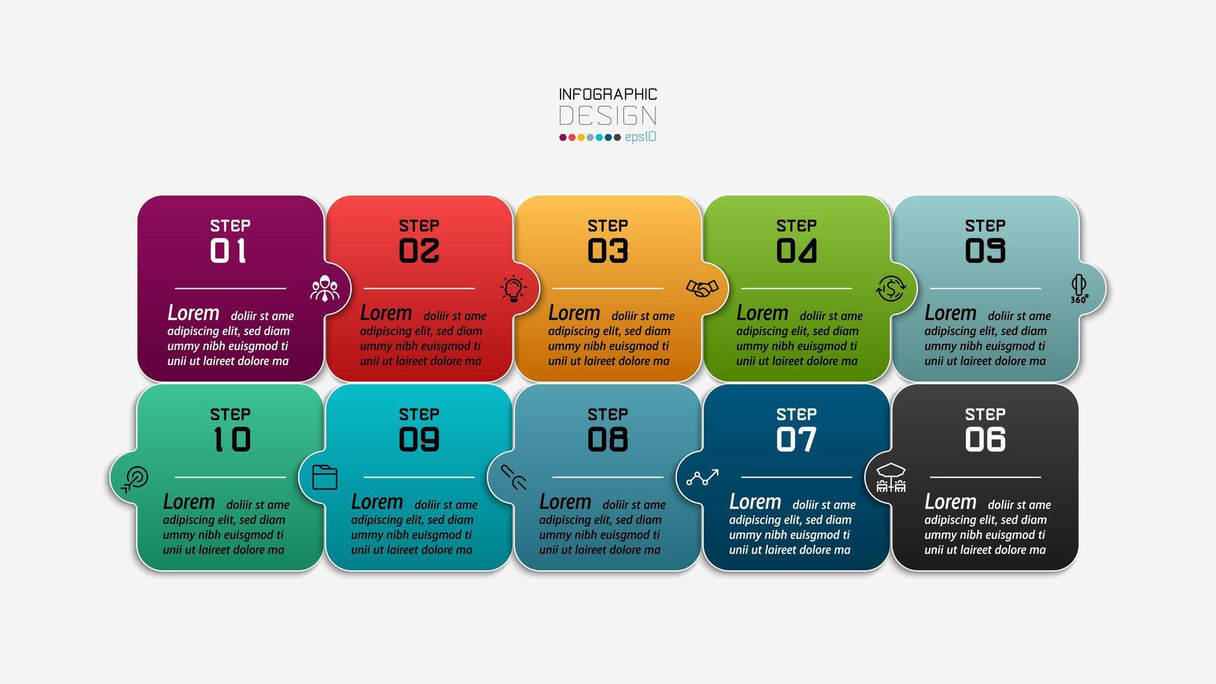infográfico de quebra-cabeça de design quadrado vetor