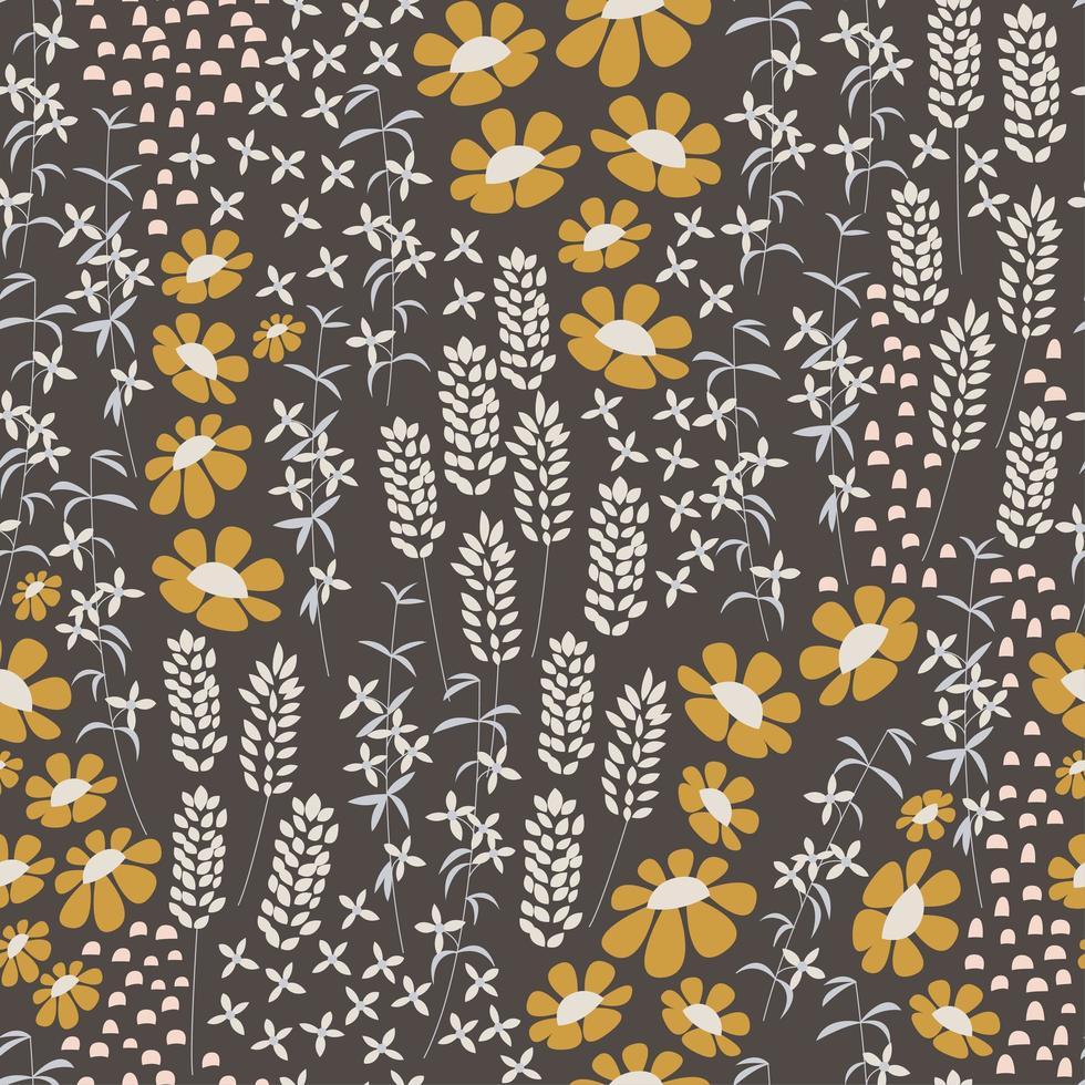design de padrão sem emenda com flores desenhadas à mão e elementos florais, ilustração vetorial vetor