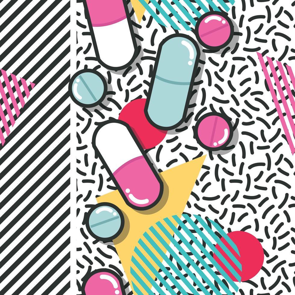 pílulas e cápsulas estouram padrão sem emenda vetor
