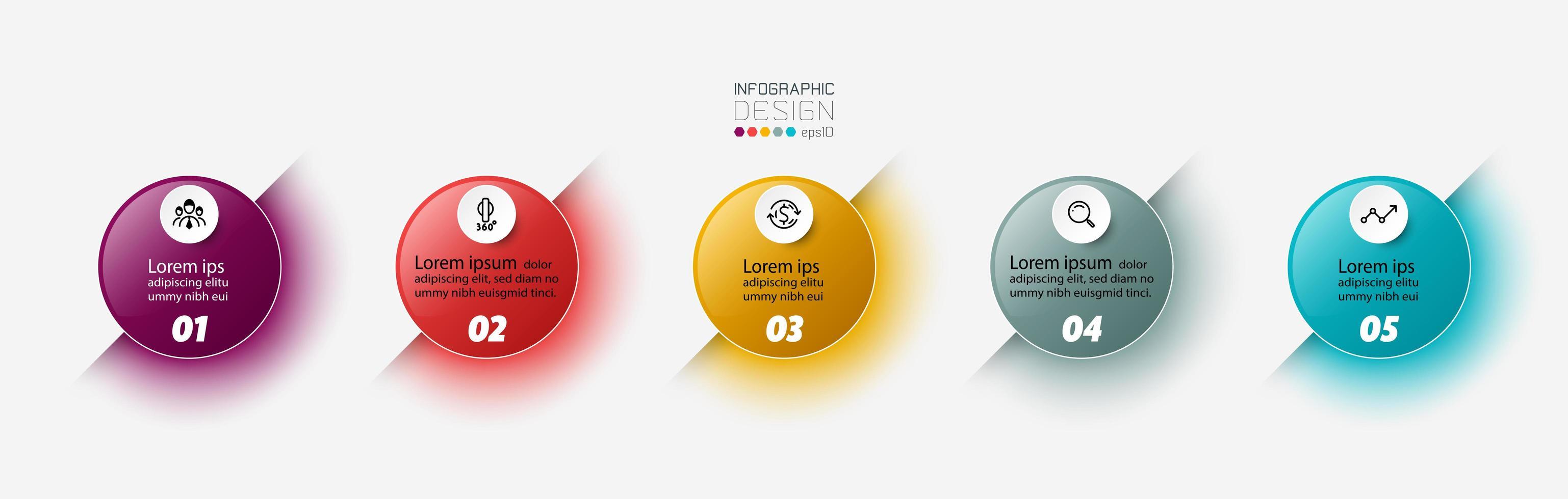 conjunto de infográfico de 5 etapas do círculo vetor