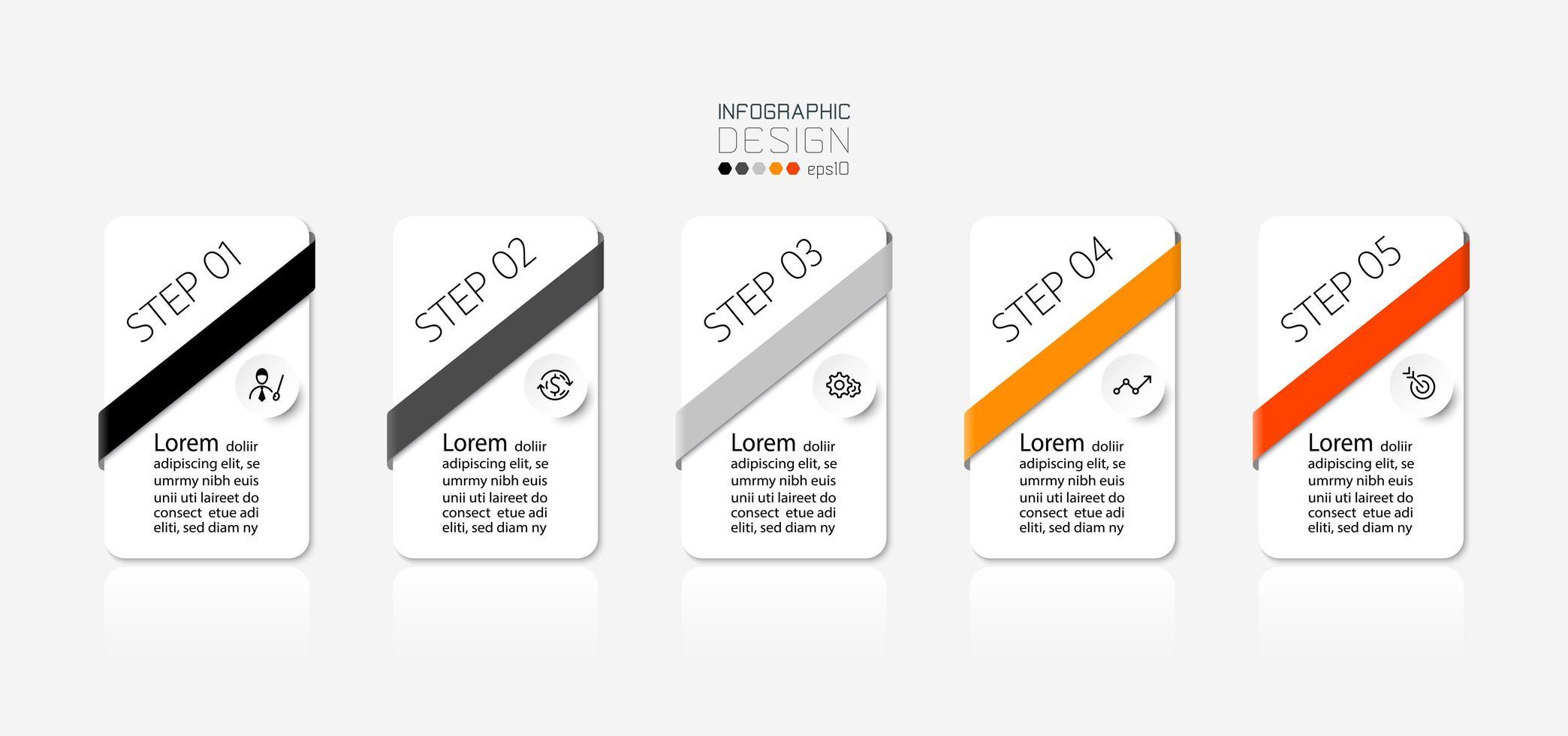 5 etapas do conjunto de design retangular vetor