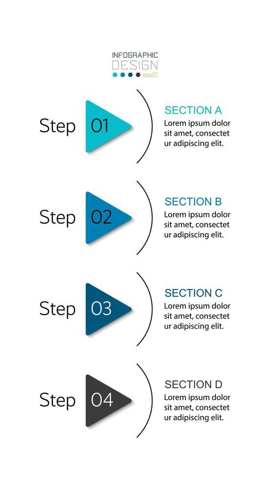 Conjunto de triângulo de 4 etapas vetor