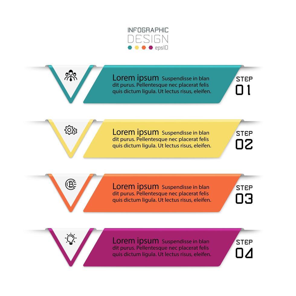 Conjunto de 4 infográficos coloridos vetor