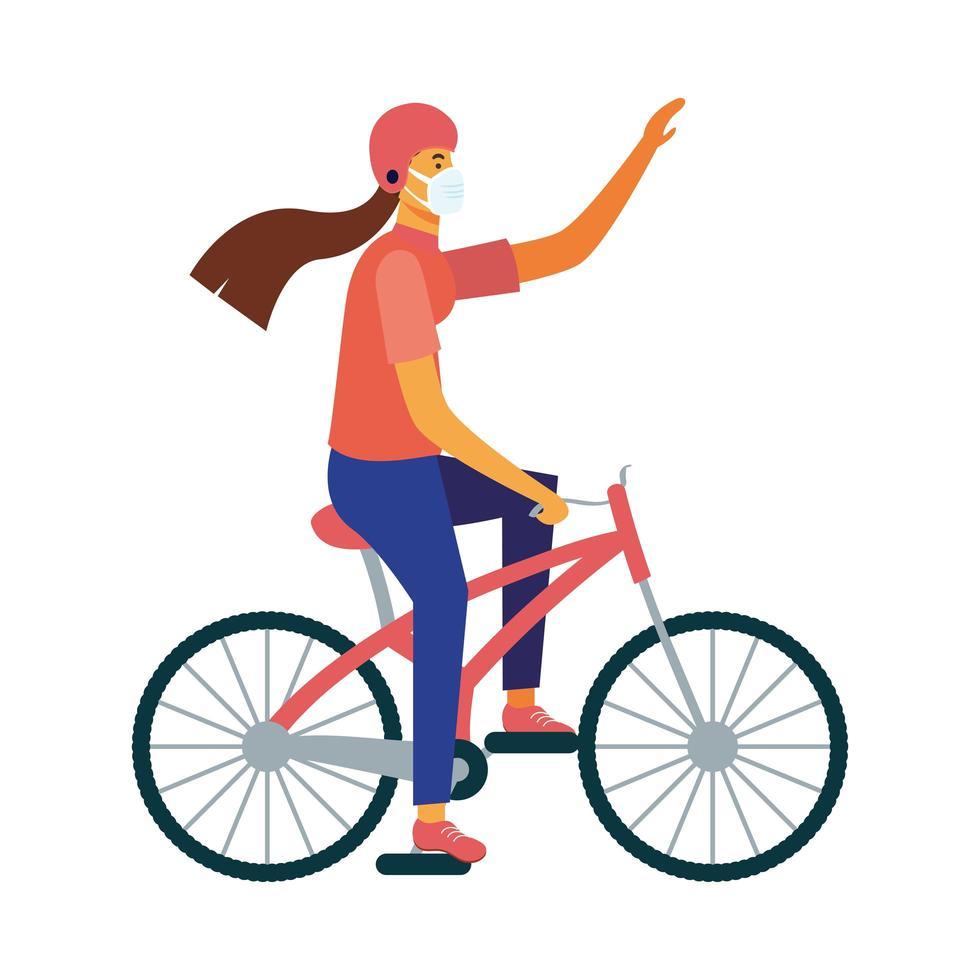 entregador isolado com máscara para andar de bicicleta desenho vetorial vetor