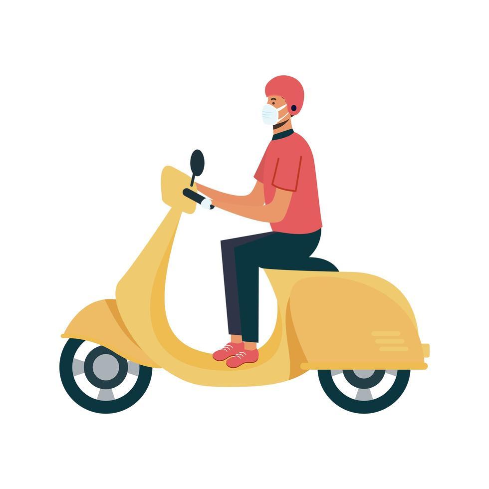 entregador isolado com máscara em desenho vetorial de motocicleta vetor