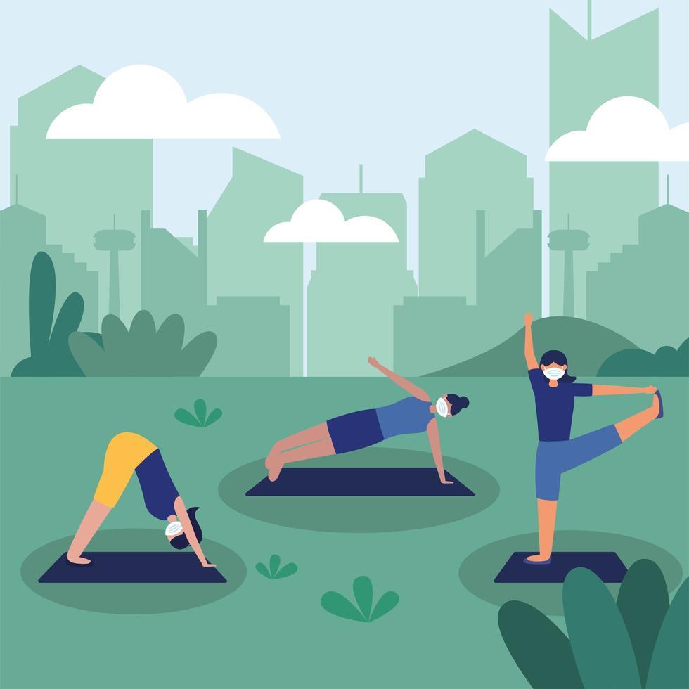mulheres com máscaras fazendo ioga no projeto do vetor do parque